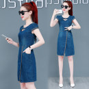 Dress Summer of 2019 wathet S,M,L,XL,2XL,3XL Mid length dress singleton  Short sleeve commute Crew neck other Socket A-line skirt routine Others 18-24 years old Type A Korean version Embroidery, stitching 51% (inclusive) - 70% (inclusive)