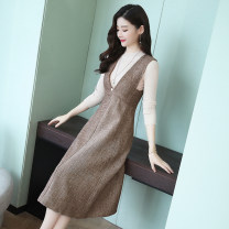Dress Winter 2020 Grey single skirt, coffee single skirt, grey suit, coffee suit S,M,L,XL,2XL Mid length dress Two piece set commute V-neck High waist Solid color Socket other straps Type A Britain Cut out pocket zipper