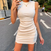 Dress Summer 2021 White, black S,M,L,XL Short skirt singleton  Sleeveless street middle-waisted Solid color 18-24 years old 51% (inclusive) - 70% (inclusive) Europe and America