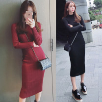 Dress Autumn of 2018 Black, dark red Average size Middle-skirt Long sleeves High collar Solid color routine 18-24 years old Other / other 31% (inclusive) - 50% (inclusive) knitting