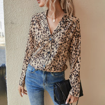 shirt Picture color S,M,L,XL Spring 2021 other 71% (inclusive) - 80% (inclusive) Long sleeves street Regular Leopard Print 18-24 years old Europe and America