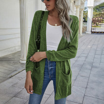 Wool knitwear Spring 2021 S,M,L,XL Green, blue, khaki, gray Long sleeves singleton  Cardigan other 31% (inclusive) - 50% (inclusive) Thin money street 18-24 years old Europe and America