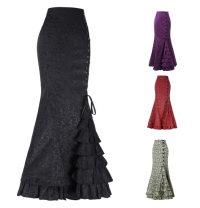 skirt Summer of 2019 XXL,S,M,L,XL Jacquard red, jacquard purple, jacquard black, jacquard gray green, net red, net black, net gray, net purple High waist Solid color