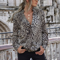 shirt Gray, Khaki S,M,L,XL Spring 2021 other 71% (inclusive) - 80% (inclusive) Long sleeves street routine Leopard Print 18-24 years old printing Europe and America