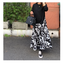 Women's large Spring 2021 black Large XL, large XXL, large XXL, large XXXXL, large XXXXL Dress Fake two pieces street Self cultivation moderate Socket Long sleeves shape Crew neck Medium length polyester fiber printing and dyeing routine longuette Europe and America