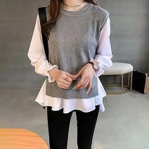 Women's large Autumn 2020 Blue Vest + stripe shirt, Black Vest + white shirt, gray Vest + white shirt One size fits all, 2XL, 3XL, 4XL, l, XL shirt Two piece set commute Straight cylinder moderate Socket Long sleeves Korean version Crew neck routine other 18-24 years old