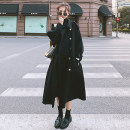 woolen coat Winter 2020 S,M,L,XL black Pashmina  51% (inclusive) - 70% (inclusive) Medium length Long sleeves commute double-breasted routine tailored collar Solid color Cape type Korean version Pocket lace up button