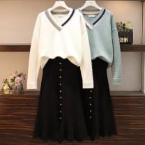 Fashion suit Winter 2020 L,XL,2XL,3XL,4XL White sweater, blue sweater, black skirt, white suit, blue suit 25-35 years old