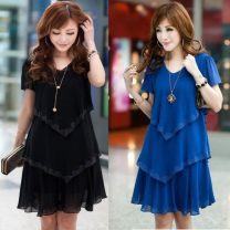 Dress Summer 2016 Blue, black S,M,L,XL,2XL,3XL,4XL Short skirt singleton  Short sleeve commute Crew neck Solid color Socket straps Other / other Korean version straps