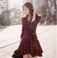 Dress Spring of 2018 Picture color S,M,L,XL Short skirt singleton  Long sleeves commute Polo collar middle-waisted lattice other Big swing other Others Other / other Korean version Splicing other other