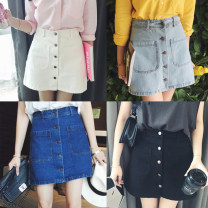 skirt Summer of 2018 S,M,L,XL Light blue, dark blue, white, black Short skirt commute High waist A-line skirt Solid color 18-24 years old Denim Other / other cotton pocket