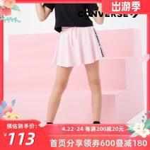 skirt 105cm,110cm,120cm,130cm,140cm,150cm,155cm,160cm Ice crystal powder, black Converse / converse female Cotton 100.00% summer skirt leisure time Solid color Pleats cotton 92122LA164