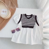 Dress white female Other / other 130cm,120cm,110cm,100cm,90cm,80cm Cotton 100% summer Korean version Petticoat stripe cotton other F-xia 13 Class B 3 months Chinese Mainland