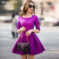Dress Spring 2017 Rose Red Black S M L XL XXL Middle-skirt singleton  three quarter sleeve street Crew neck High waist Solid color zipper A-line skirt routine Others 25-29 years old Type A NICH NOEY Pleated zipper FR7105 More than 95% Crepe de Chine polyester fiber Polyester 100% Europe and America