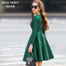Dress Spring 2017 Green with belt, black with belt S ml XL XXL (within 130 kg) Middle-skirt singleton  Long sleeves street Crew neck High waist Solid color zipper A-line skirt routine Others 25-29 years old Type A NICH NOEY Pleated pocket zipper FR7001 More than 95% other polyester fiber