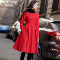 Dress Winter 2017 Big red and black S M L XL Middle-skirt singleton  Long sleeves street Crew neck High waist Solid color zipper A-line skirt routine Others 25-29 years old Type A NICH NOEY Pleated pocket zipper FR7302 81% (inclusive) - 90% (inclusive) Wool polyester fiber Europe and America
