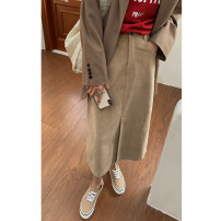 skirt Spring 2021 S,M,L Mid length dress commute High waist Suit skirt Solid color Type A 18-24 years old More than 95% corduroy Other / other cotton Korean version
