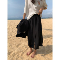 skirt Spring 2021 S, M black Mid length dress commute High waist Splicing style Solid color Type H 18-24 years old More than 95% other Other / other polyester fiber Splice, split Korean version