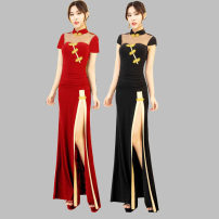 Dress / evening wear coming-of-age ceremony S,XL,L,M,XXL,XXXL,XXXXL Red, 5071 mesh long sleeve, 5072 Cape, 3091 pipa Retro longuette middle-waisted Spring 2020 Trailing stand collar Hollowing out spandex 36 and above Short sleeve Embroidery Solid color A Kung story Princess sleeve machine embroidery