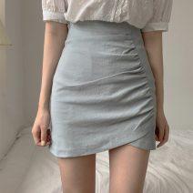 skirt Summer 2021 S,M,L Blue skirt, apricot skirt Short skirt commute High waist skirt Solid color Type A 18-24 years old More than 95% cotton zipper Retro