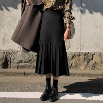 skirt Summer 2021 S,M,L,XL black Mid length dress commute High waist other Solid color 18-24 years old Korean version