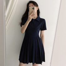 Dress Summer 2021 Picture color S,M,L,XL Middle-skirt singleton  Short sleeve commute Polo collar High waist Solid color Socket Pleated skirt routine 18-24 years old Type A Korean version fold 31% (inclusive) - 50% (inclusive) other cotton