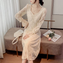 Dress Spring 2021 Beige flared sleeves S,XL,L,M Mid length dress singleton  Long sleeves commute V-neck Solid color One pace skirt routine Others 25-29 years old Ajbutterfly Splicing 71% (inclusive) - 80% (inclusive) other polyester fiber