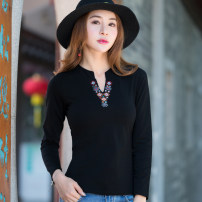 T-shirt Black, white, red, yellow, dark blue, pink M,L,XL,2XL,3XL,4XL Spring 2020 Long sleeves V-neck Self cultivation Regular routine commute cotton 86% (inclusive) -95% (inclusive) 30-39 years old ethnic style classic Plants and flowers You Tong Embroidery