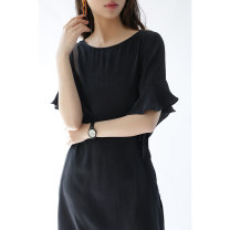 Dress Spring 2021 black M, L Mid length dress singleton  Short sleeve commute Loose waist Socket Lotus leaf sleeve L8296 More than 95% silk