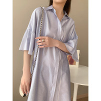 Dress Spring 2021 Blue and white bar, check M, L Mid length dress singleton  elbow sleeve commute stripe Single breasted Lotus leaf sleeve Type H Simplicity L8238 31% (inclusive) - 50% (inclusive) silk