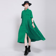 Dress Summer 2020 Average size Mid length dress singleton  Short sleeve street Polo collar middle-waisted Solid color Single breasted Irregular skirt routine Others 18-24 years old Type A Other / other Pleats, stitching, asymmetry, buttons 51% (inclusive) - 70% (inclusive) other cotton