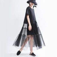 Dress Summer 2020 black Average size longuette singleton  Short sleeve commute Crew neck middle-waisted Solid color Socket Big swing routine Others 18-24 years old Type A Other / other Simplicity Splicing 51% (inclusive) - 70% (inclusive) other other