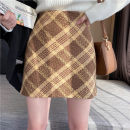 skirt Winter 2020 S,M,L,XL Chocolate, blue grey Short skirt commute High waist A-line skirt lattice Type A 18-24 years old DQ195# 51% (inclusive) - 70% (inclusive) Wool polyester fiber zipper Korean version