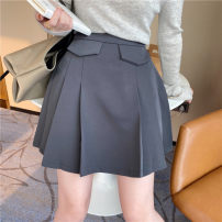 skirt Spring 2021 S,M,L,XL Grey, black, brown, apricot Short skirt commute High waist A-line skirt Solid color Type A 18-24 years old QZ130# 51% (inclusive) - 70% (inclusive) other polyester fiber zipper Korean version