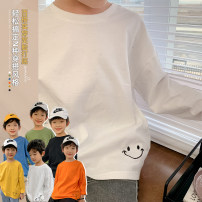 T-shirt Black, white, yellow, blue, green, orange, white Yue fan'er The recommended height is about 110 for size 7, 120 for size 9, 130 for size 11, 140 for size 13, 150 for size 15 and 160 for size 17 male spring and autumn Long sleeves Crew neck Korean version There are models in the real shooting