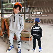 suit Yue fan'er Black, gray The recommended height is about 110 for size 7, 120 for size 9, 130 for size 11, 140 for size 13, 150 for size 15 and 160 for size 17 male spring and autumn Korean version Long sleeve + pants 2 pieces routine There are models in the real shooting Socket nothing Solid color