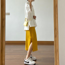 skirt Spring 2021 Black, off white, blue, yellow Mid length dress Versatile High waist skirt Solid color Type A 18-24 years old 71% (inclusive) - 80% (inclusive) Chiffon polyester fiber