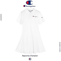 Dress Summer 2021 White, black, gray, pink S,M,L,XL Mid length dress singleton  Short sleeve street Polo collar High waist Solid color Three buttons A-line skirt shirt sleeve Type A CHAMPION Embroidery, embroidery More than 95% cotton Sports & Leisure