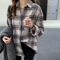 short coat Autumn of 2019 M,L,XL,2XL,3XL,4XL Apricot, blue, brown pre-sale Long sleeves routine routine singleton  easy commute routine Single breasted lattice Other / other