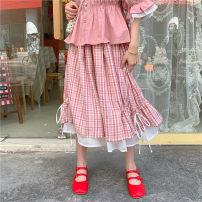 skirt Summer 2020 Average size Blue, pink High waist lattice Type A