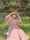 Dress Summer 2020 Milk blue (5 days or so), waxy Pink (5 days or so) S, M Mid length dress Short sleeve Sweet High waist Solid color cotton