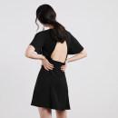 Dress Summer of 2019 White, black, pink XS,S,M,L Short skirt singleton  Short sleeve commute Crew neck High waist Solid color A-line skirt pagoda sleeve 18-24 years old Korean version D560