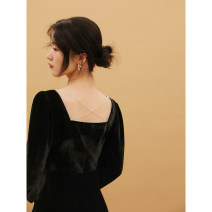 Dress Autumn 2020 black S,M,L longuette singleton  Long sleeves commute High waist Solid color Socket routine 25-29 years old D855 polyester fiber