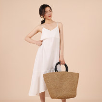 Dress Summer of 2019 White, dark blue, brick red S,M,L Mid length dress Sleeveless commute V-neck High waist Solid color camisole 18-24 years old Simplicity D522