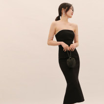 Dress / evening wear Adulthood, party, company annual meeting, show, date S,M,L black Korean version longuette middle-waisted fish tail One shoulder zipper Rayon, cotton, spandex 18-25 years old D877 Sleeveless Solid color