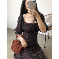 Dress Summer 2020 Black flower S,M,L Mid length dress singleton  elbow sleeve commute square neck High waist Decor Big swing bishop sleeve Others 18-24 years old Korean version D700 31% (inclusive) - 50% (inclusive) cotton