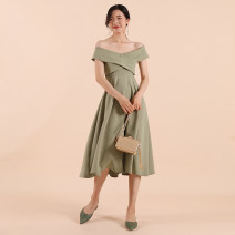 Dress Summer of 2019 XS,S,M,L Middle-skirt One word collar High waist Solid color