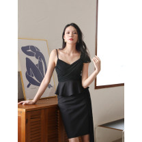 Dress Summer 2020 White, black S,M,L,XL Middle-skirt Sleeveless commute High waist Solid color zipper One pace skirt camisole Type X Ol style D701 91% (inclusive) - 95% (inclusive) polyester fiber