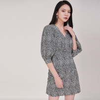 Dress Summer 2020 Picture color S,M,L Short skirt singleton  elbow sleeve commute V-neck High waist Decor A-line skirt bishop sleeve 25-29 years old Type A D690 polyester fiber