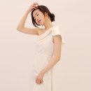 Dress / evening wear Wedding, adulthood, party, company annual meeting, performance, routine, appointment S,M,L White, pink Simplicity Medium length High waist Summer 2021 A-line skirt Single shoulder type polyester fiber 18-25 years old D917 Sleeveless Solid color other